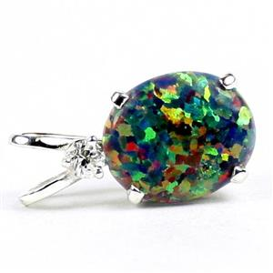 SP022, Created Black Opal, 925 Sterling Silver Pendant