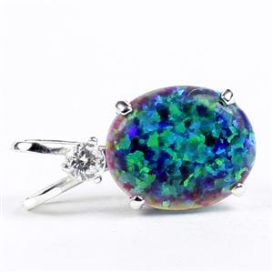 SP022, Created Blue Green Opal, 925 Sterling Silver Pendant