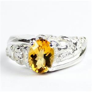 SR368, Citrine, 9x7 925 Sterling Silver Mens Nugget Ring