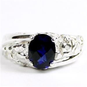 SR368, Created Blue Sapphire, 9x7 925 Sterling Silver Mens Nugget Ring