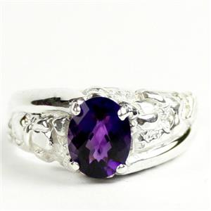 SR368, Amethyst, 9x7 925 Sterling Silver Mens Nugget Ring