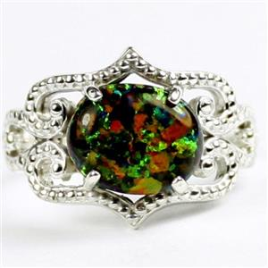 SR367, Created Black Opal, 925 Sterling Silver Ladies Ring