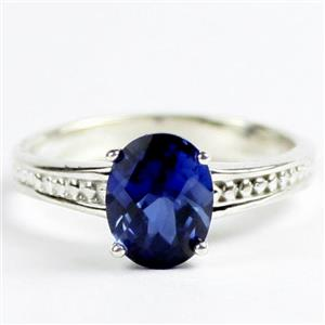 Created Blue Sapphire, Sterling Silver Ladies Ring, SR371