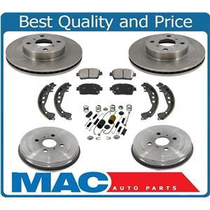 01-03 Prius Front Brake Rotors & Ceramic Brake Disc Pads Drums Shoes 7Pc