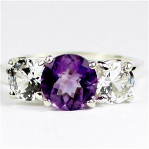 SR255, Amethyst W/ Accents, 925 Sterling Silver Ladies Ring