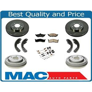 Front Rotors Rear Drums Brake Pads Shoes Spring Kit for Dodge Neon 00-05