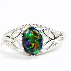 SR137, Black Created Opal, 925 Sterling Silver Ring