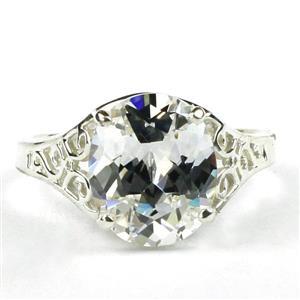 SR057, Cubic Zirconia, 925 Sterling Silver Ladies Ring