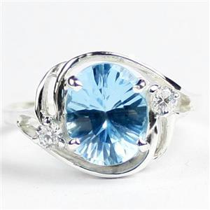SR021, Swiss Blue Topaz Quantum Cut, 925 Sterling Silver Ladies Ring