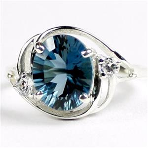 SR021, London Blue Topaz Quantum Cut, 925 Sterling Silver Ring