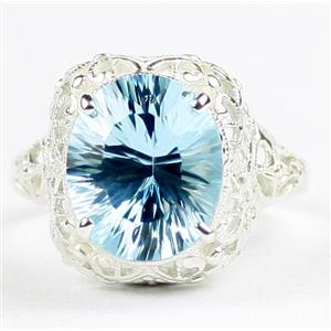 SR009, Quantum Swiss Blue Topaz, 925 Sterling Silver Antique Style Filigree Ring