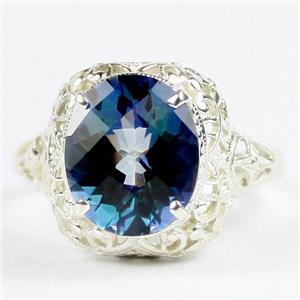 SR009, Neptune Garden Topaz, 925 Sterling Silver Antique Style Filigree Ring