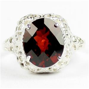 SR009, Mozambique Garnet, 925 Sterling Silver Antique Style Filigree Ring