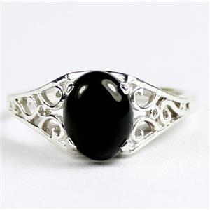 Black Onyx, 925 Sterling Silver Ladies Ring, SR005