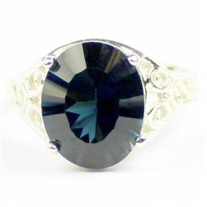 London Blue Topaz (concave cut), 925 Sterling Silver Ladies Ring, SR057