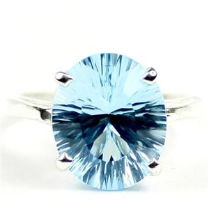Swiss Blue Topaz (Concave Cut), 925 Sterling Silver Ladies Ring, SR055