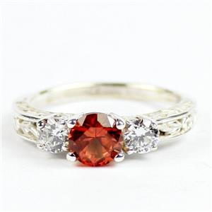 SR254, Created Padparadsha Sapphire w/ Accents, Sterling Silver Ring