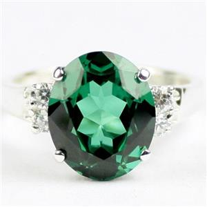 Russian Nanocrystal Emerald, 925 Sterling Silver Ladies Ring, SR244