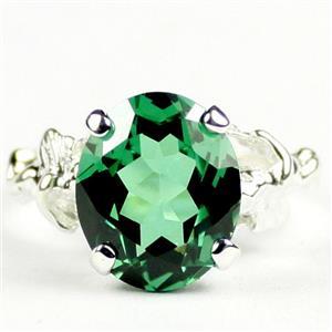 Russian Nanocrystal Emerald, 925 Sterling Silver Ring, SR 154
