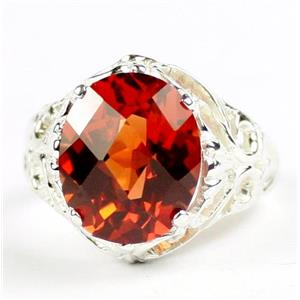 Created Padparadsha Sapphire, 925 Silver Ring,SR114