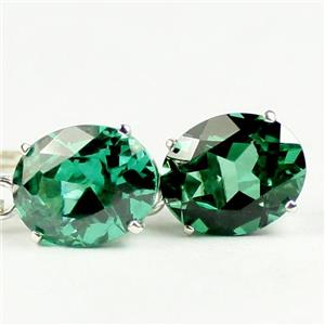 SE107, Russian Nanocrystal Emerald, 925 Sterling Silver Earrings