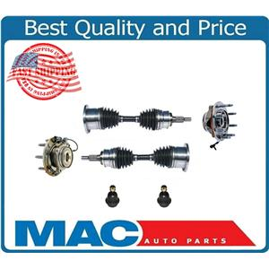 For 07-10 Silverado 2500HD 4x4 (2) Ft Wheel Bearing and Hub CV Axles Ball Joints