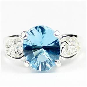 Swiss Blue Topaz (concave cut), 925 Sterling Silver Ladies Ring, SR369