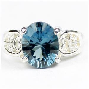 London Blue Topaz (concave cut), 925 Sterling Silver Ladies Ring, SR369