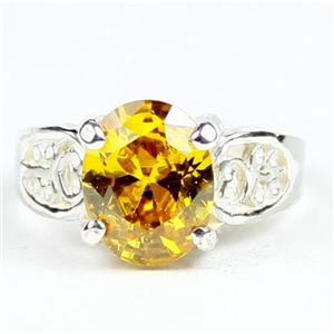 Golden Yellow CZ, 925 Sterling Silver Ladies Ring, SR369
