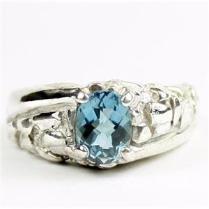 Swiss Blue Topaz, 925 Sterling Silver Mens Nugget Ring, SR368