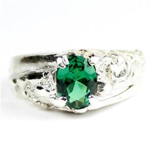 Russian Nanocrystal Emerald, 925 Sterling Silver Mens Nugget Ring, SR368