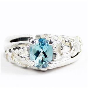 Paraiba Topaz, 925 Sterling Silver Mens Nugget Ring, SR368