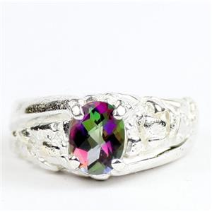 Mystic Fire Topaz, 925 Sterling Silver Mens Nugget Rings, SR368