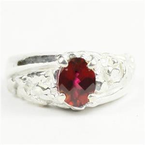 Crimson Fire Topaz, 925 Sterling Silver Men's Nugget Ring, SR368