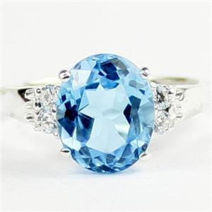 Swiss Blue Topaz, 925 Sterling Silver Ring, SR123