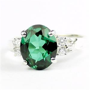 Russian Nanocrystal Emerald, 925 Sterling Silver Ring, SR123