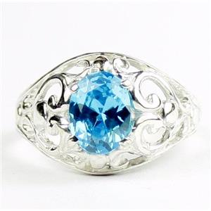 Swiss Blue CZ, 925 Sterling Silver Ladies Ring, SR111