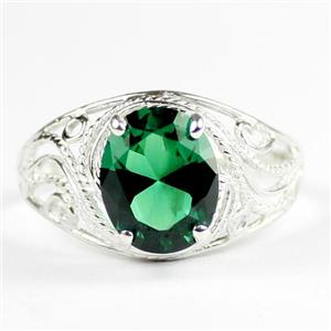 Russian Nanocrystal Emerald, 925 Sterling Silver Ladies Ring, SR083