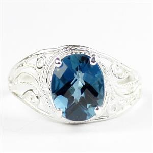 London Blue Topaz, 925 Sterling Silver Ladies Ring, SR083