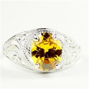 Golden Yellow CZ,  925 Sterling Silver Ladies Ring, SR083