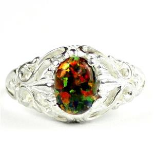 Created Black Opal, 925 Sterling Silver Ladies Ring, SR113