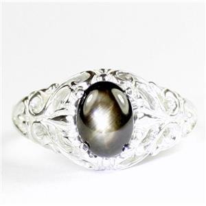Black Star Sapphire, 925 Sterling Silver Ladies Ring, SR113