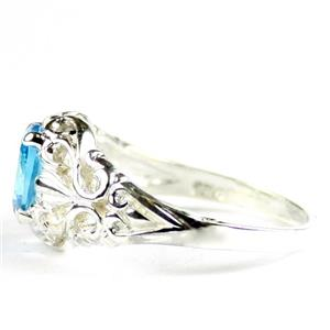 Swiss Blue CZ, 925 Sterling Silver Ladies Ring, SR113