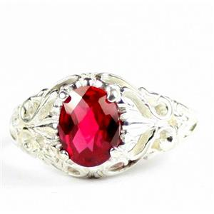 Created Ruby, 925 Sterling Silver Ladies Ring, SR113
