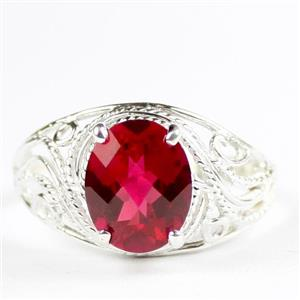 Created Ruby, 925 Sterling Silver Ladies Ring, SR083
