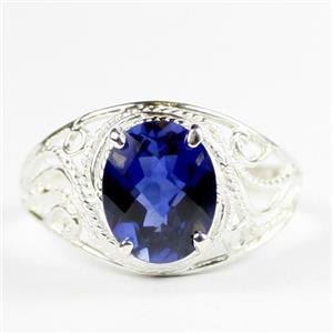 Created Blue Sapphire, 925 Sterling Silver Ladies Ring, SR083