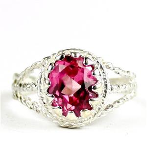 Created Pink Sapphire, 925 Sterling Silver Ladies Ring, SR070