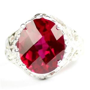 Created Ruby, 925 Sterling Silver Ladies Ring, SR114