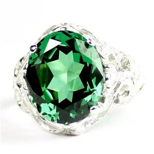 Russian Nanocrystal Emerald, 925 Sterling Silver Ladies Ring, SR114