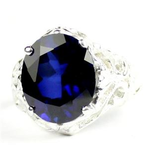 Created Blue Sapphire, 925 Sterling Silver Ladies Ring, SR114